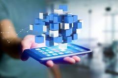 3d rendant le cube bleu et blanc sur une interface futuriste Images libres de droits