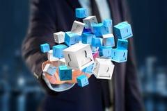 3d rendant le cube bleu et blanc sur une interface futuriste Photos libres de droits