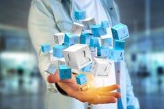 3d rendant le cube bleu et blanc sur une interface futuriste Photographie stock