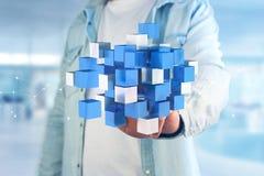 3d rendant le cube bleu et blanc sur une interface futuriste Photo libre de droits