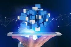 3d rendant le cube bleu et blanc sur une interface futuriste Images stock