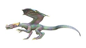 3D rendant le dragon de conte de fées sur le blanc Photographie stock