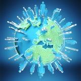3D rendant le groupe de la terre environnante de planète de personnes d'icônes Image stock