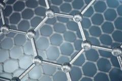 3d rendant le plan rapproché géométrique hexagonal de forme de nanotechnologie abstraite, structure atomique de graphene de conce Image stock