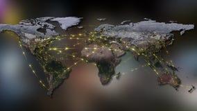 3D rendant le résumé du réseau du monde, de l'Internet et du concept global de connexion Éléments de cette image meublés par la N Photographie stock