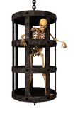 3D rendant le squelette humain dans la cage sur le blanc Photo stock