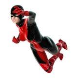 3D rendant le super héros féminin sur le blanc Photos libres de droits