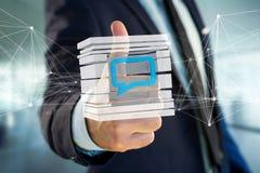 3D rendant le symbole bleu d'email montré dans un cube découpé en tranches Photographie stock