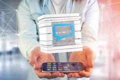 3D rendant le symbole bleu d'email montré dans un cube découpé en tranches Photo stock