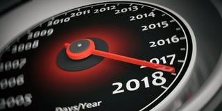 3d rendant le tachymètre 2018 de voiture de nouvelle année Image libre de droits