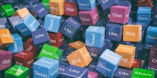 3d rendant les cubes sociaux en mots de media Images stock