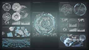 3D rendant les diagrammes numériques et l'écran d'hologramme de graphique Photos libres de droits