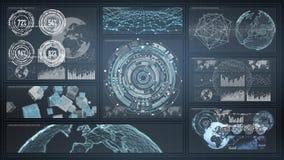 3D rendant les diagrammes numériques et l'écran d'hologramme de graphique Photographie stock libre de droits