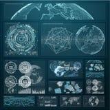 3D rendant les diagrammes numériques et l'écran d'hologramme de graphique Image stock