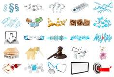 3D rendant les icônes modernes Photos libres de droits