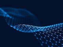 3d rendant les points et les lignes futuristes abstraits structure numérique géométrique de connexion d'ordinateur Image libre de droits