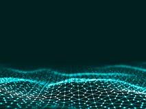 3d rendant les points et les lignes futuristes abstraits structure numérique géométrique de connexion d'ordinateur Grille abstrai Images libres de droits