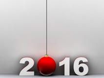 2016 in 3d rende con la palla di Natale Fotografia Stock