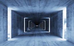 3d rendem, abstraem o interior concreto azul vazio Imagens de Stock Royalty Free