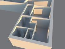 3d rendem apartamentos do designe na opinião de perspectiva, plano da construção Imagem de Stock