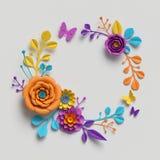 3d rendem, as flores de papel em volta do quadro, fundo botânico, clipart isolado, grinalda redonda, cumprimento vazio ilustração do vetor