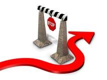 3d rendem as setas que envolvem um obstáculo foto de stock royalty free