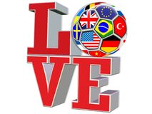 3D rendem a bola de futebol das bandeiras do international do AMOR da palavra Fotos de Stock Royalty Free