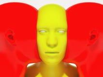 3d rendem Cara a cara humanoid Imagem de Stock