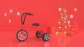 3d rendem a cena vermelha do conceito do feriado do ano novo do fundo do Natal ilustração royalty free