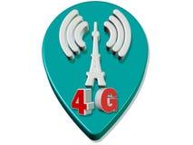 3d rendem a conexão da torre da velocidade 4G Fotografia de Stock