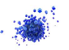 3d rendem cubos azuis e o fundo branco ilustração royalty free