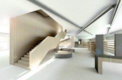 3d rendem da biblioteca moderna, interior ilustração do vetor