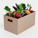 3D rendem da caixa de papel com vegetal Fotografia de Stock