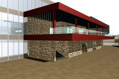 3D rendem da construção moderna Fotos de Stock Royalty Free