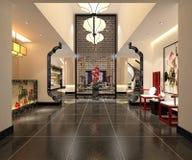 3d rendem da entrada do interior do hotel Fotos de Stock Royalty Free