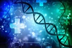 3d rendem da estrutura do ADN no fundo médico da tecnologia Foto de Stock