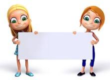 3D rendem da menina com placa branca Foto de Stock