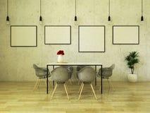 3D rendem da mesa de jantar bonita com cadeiras cinzentas ilustração stock