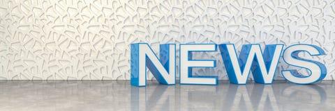 3d rendem da notícia em letras principais azuis Fotos de Stock