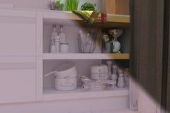 3d rendem da sala de visitas com design de interiores da cozinha em um moder Foto de Stock Royalty Free
