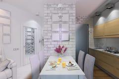 3d rendem da sala de visitas com design de interiores da cozinha em um moder Imagem de Stock Royalty Free