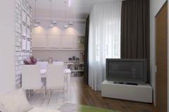 3d rendem da sala de visitas com design de interiores da cozinha em um moder Foto de Stock