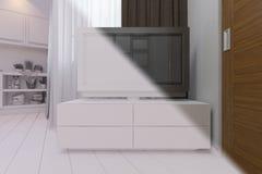 3d rendem da sala de visitas com design de interiores da cozinha em um moder Imagens de Stock