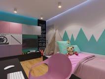 3d rendem da sala do ` s das crianças do design de interiores Foto de Stock