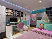 3d rendem da sala do ` s das crianças do design de interiores Fotos de Stock Royalty Free