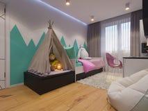 3d rendem da sala do ` s das crianças do design de interiores Imagem de Stock