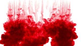 3d rendem da tinta vermelha dissolvem-se na água no fundo branco com o resíduo metálico do luma como o canal alfa para efeitos vi video estoque