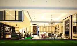 3d rendem da vida e da sala de jantar luxuosas Imagem de Stock
