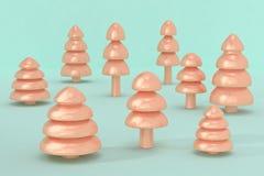 3d rendem de árvores de Natal em uma luz - superfície do azul foto de stock royalty free