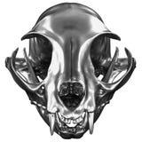 3D rendem de Cat Skull metálica ilustração stock